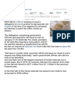 ET_rice_India to Nudge Iran to Resume Basmati Imports - The Economic Times