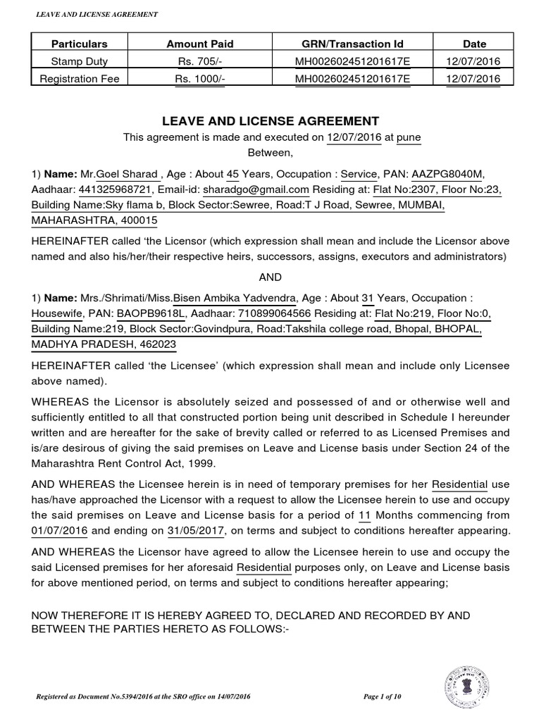Rent Agreement 1 Backup License Lease