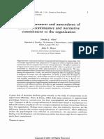 Organizational Commitment Allen Meyer (1990)