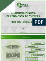 Audiencia de Rendición Pública de Cuentas Final 2016 - Inicial 2017 - ANH