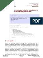 Analyse de La linguistique textuelle