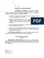 Affidavit of No Earnings