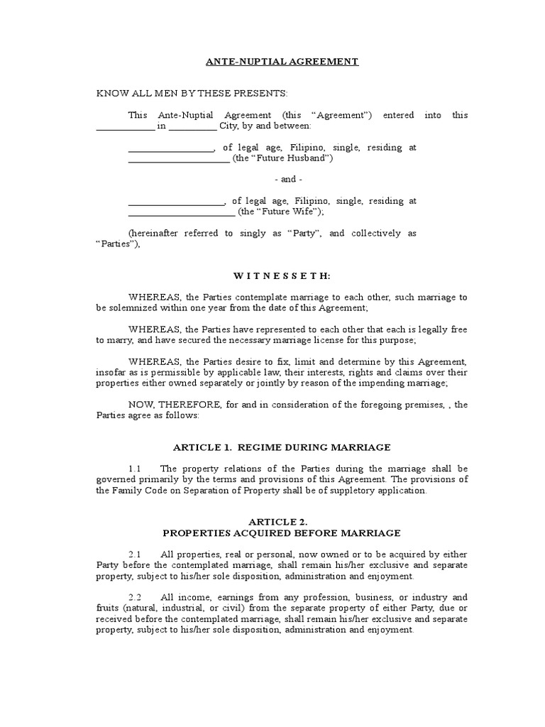 Ante Nuptial Agreement Marriage Property