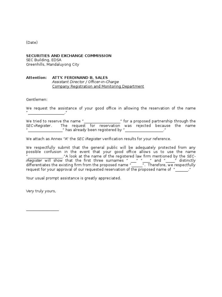 Letter of Appeal - Name Verification - SEC