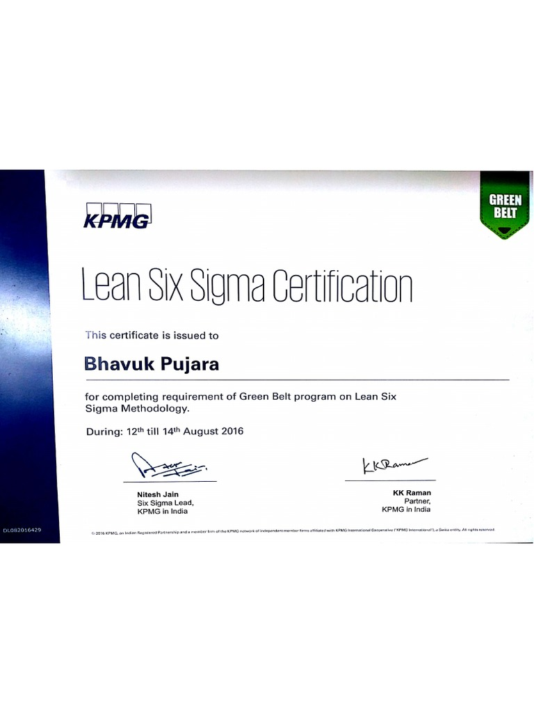 Kpmg Green Belt Certification Bhavuk Pujara