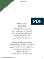 Carole King - One Lyrics