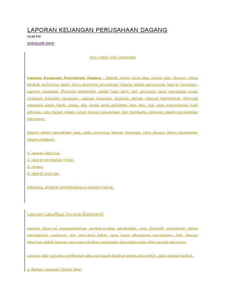 Berikut Ini Yang Merupakan Laporan Keuangan Perusahaan ...