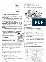 Avaliação Bimestral de Português - 1º Bimestre