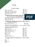 Equações do 1º Grau e 2° Grau - lista de exercícios