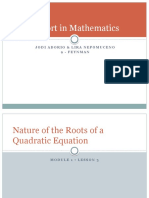 Solving Quadratic Equations & Nature of the Roots