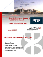 PQCNC ASNS LS1 Epic Early Onset Sepsis Calculator James Perciaccante MD