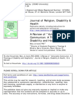 "A Review of ""Vulnerable Communion- A Theology of Disability and Hospitality"""