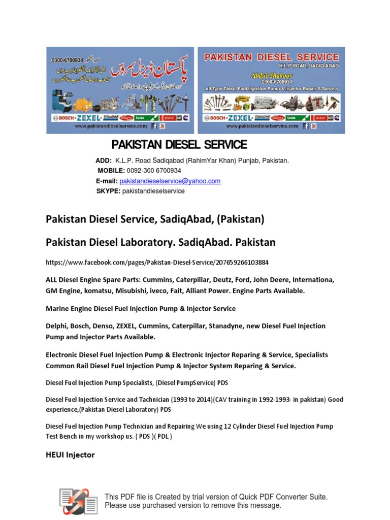 Pakistan Diesel Service | Fuel Injection | Diesel Engine