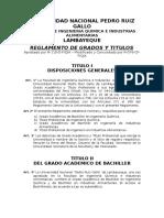 Reglamento de Grados y Titulos - Fiqia - UNPRG