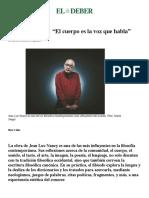 JL Nancy El Cuerpo Es La Voz Que Habla