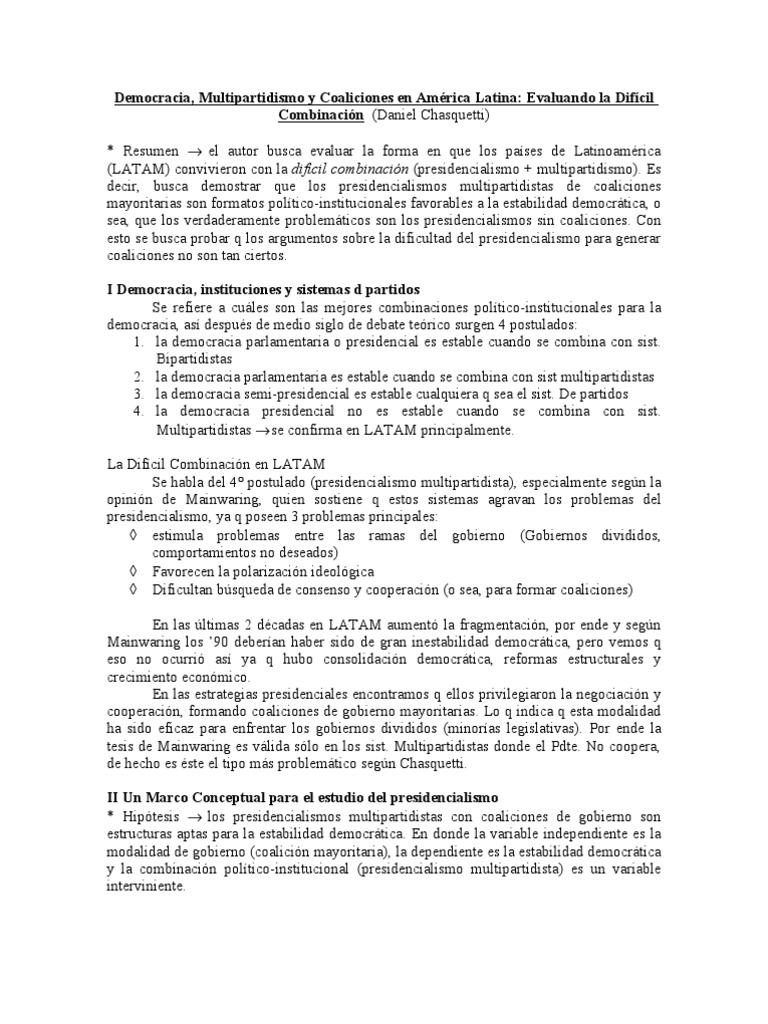 chasquetti - democracia, multipartidismo y coaliciones en américa latina