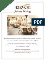 Harvest Private Dining Information