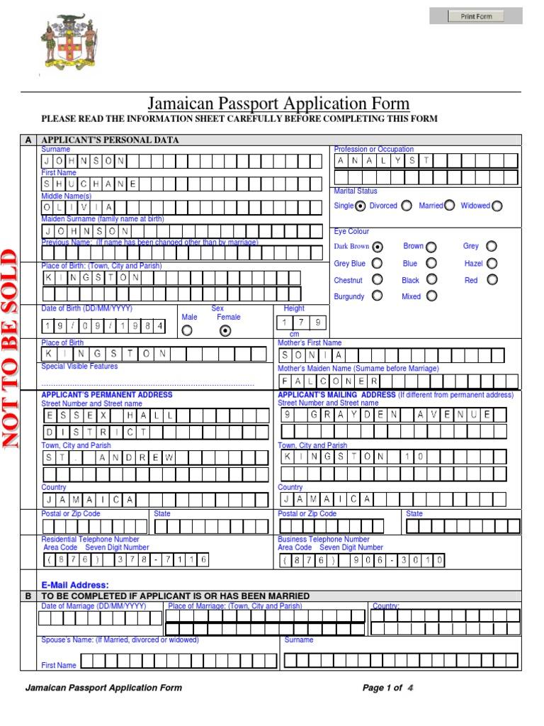 Jamaica Passport Application Compressed Passport Address Geography
