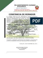 Constancia de Morador Eloy Baneo 2015 de Fer