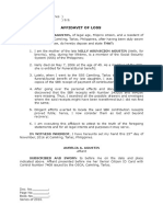 Affidavit of Loss - Aurelia (Sss-sbr Receipts)