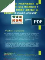 """DIAPOSTIVAS PAPPERS""""Efecto del almidon de yucA MODIFICADO Y EL ACITE ESENCIAL DE TOMILLO SOBRE PIMIENTOS"""
