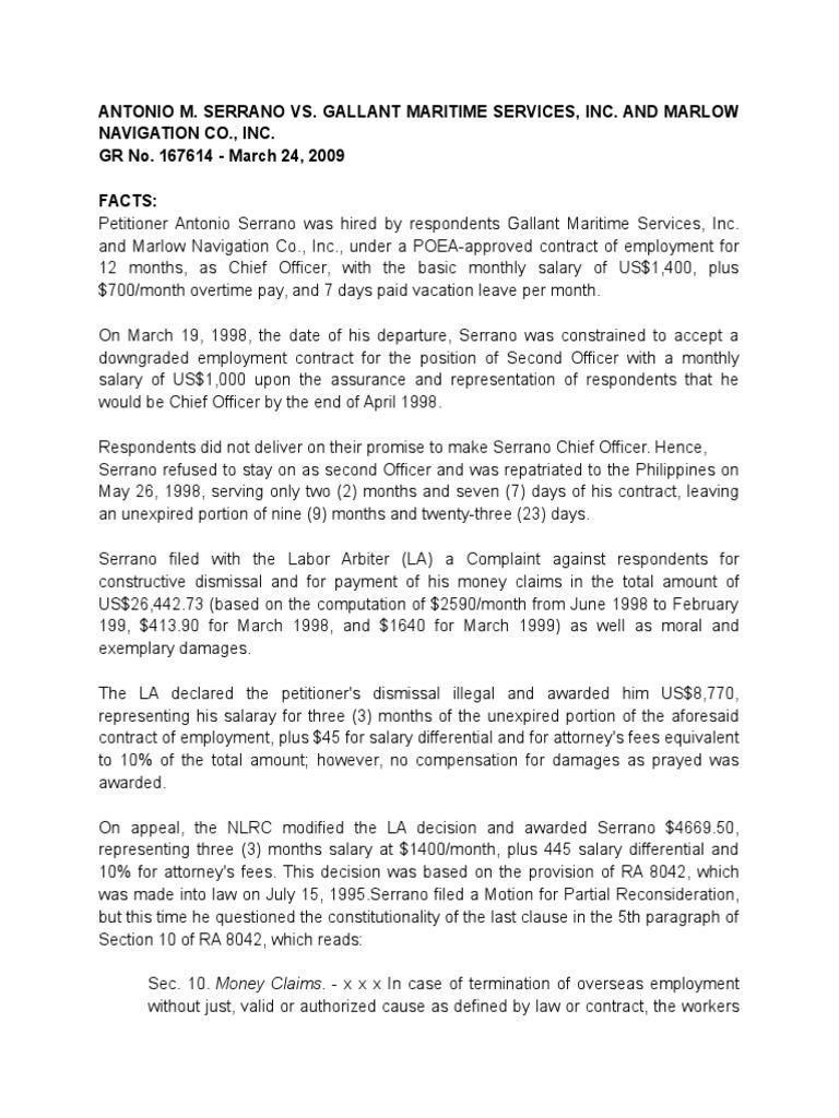 Serrano vs Gallant Maritime Services Digest   Strict