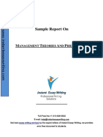 Sample Report on Management theories and Philosophies by Expert Writers of Instant Essay Writing
