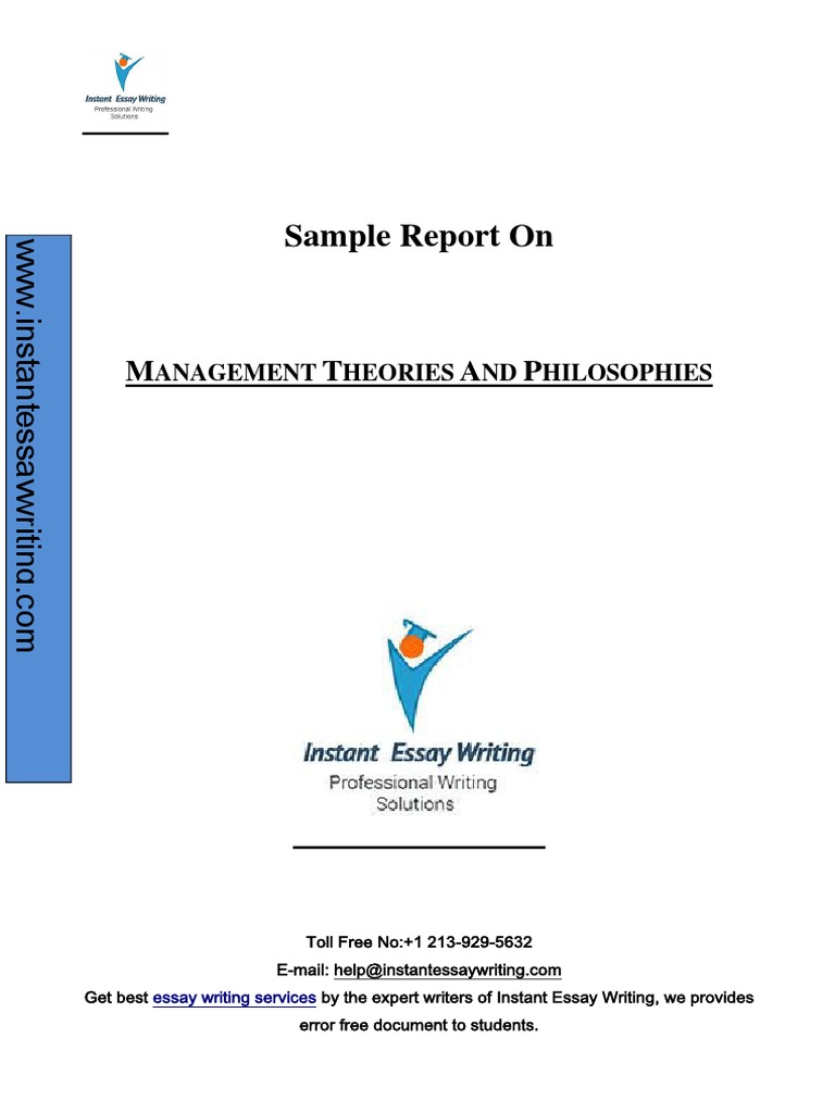 sample report on management theories and philosophies by expert sample report on management theories and philosophies by expert writers of instant essay writing
