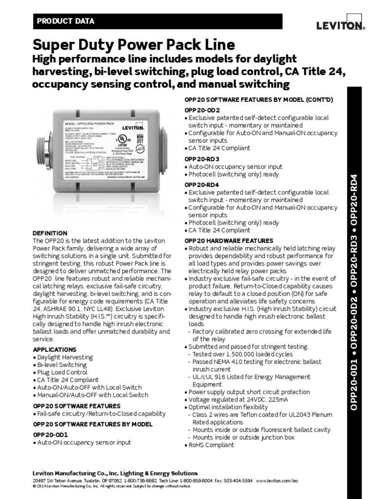 Super Duty Power Pack (OPP20) | Fluorescent Lamp | Relay