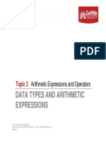 Topic 3 - Arithmetic Expressions and Operators