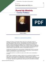 O Portal Da História - Thomas Hobbes e o Pensamento Político