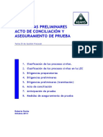 DILIGENCIAS PRELIMINARES ACTO DE CONCILIACIÓN Y ASEGURAMIENTO DE PRUEBA