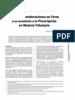 Algunas Consideraciones en Torno a La Renuncia a La Prescripcion en Materia Tributaria