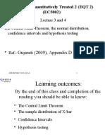 Lecture 03 & 04 EC5002 CLT & Normal Distribution 2015-16