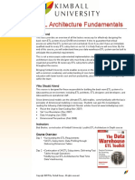 Kimball University ETL Architecture Fundamentals Course Description 2015.05