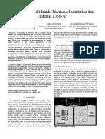 Análise Da Viabilidade Técnica e Econômica Das Baterias Lítio-Ar