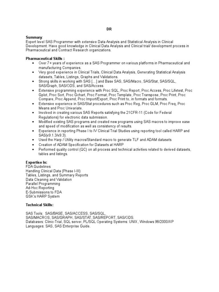 DR | Sas (Software) | Clinical Trial
