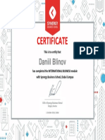 CERTIFICATION International Business Module_Daniil Blinov (SYNERGY EMBA)