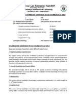 Pattern of Question Papers for Admission to Ug Course in Clat