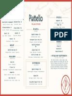 Piattello dinner menu