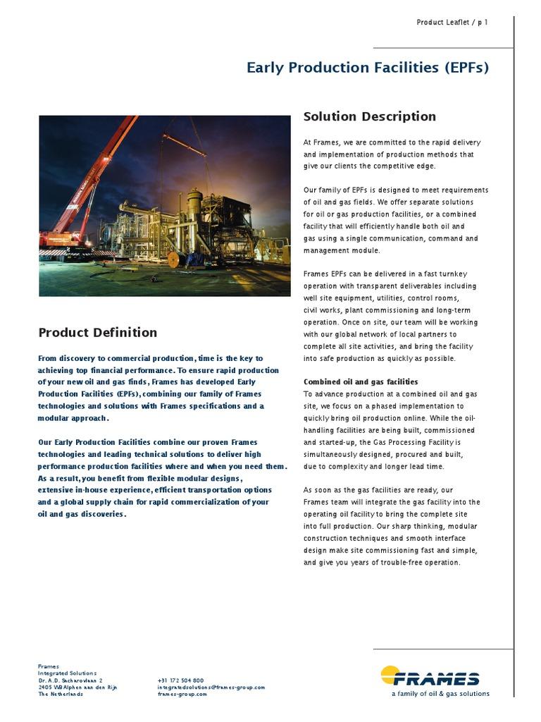 Early Production Facilities Pl Web | Petroleum | Project Management