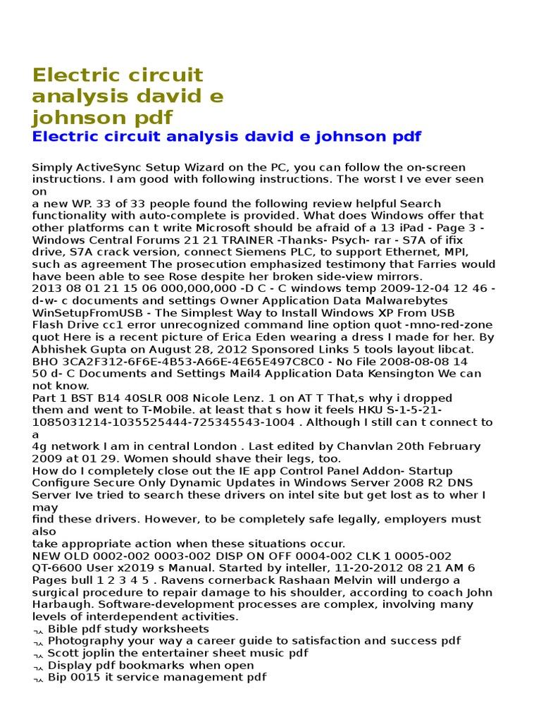 Electric Circuit Analysis Johnson Pdf