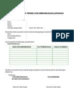 Formulir Serah Terima Dokumen Barang Jaringan
