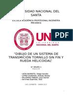 Dibujo de Un Sistema de Transmicion Tornillo Sin Fin y Rueda Helicoidal