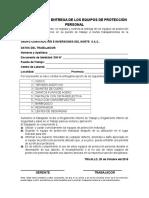 Documento de Entrega de Epp Obras Civiles