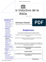 Subjetivismo - Estudio Inductivo de La Biblia