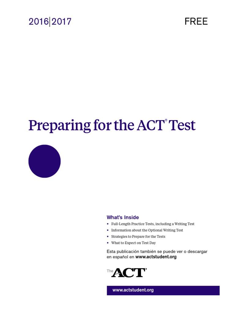 Printable act practice test pdf 2016 2017pdf experiment science xflitez Choice Image