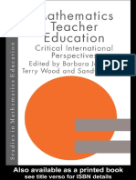 B. Jaworski Mathematics Teacher Education Critical International Perspectives Studies in Mathematics Education Series