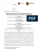 Time Management, Social Support, Personality and Burnout Among Postgraduate Students