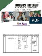 Jadual Kursus Intensif Sidang Akademik 2016-2017 (Terkini)